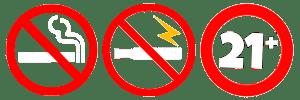 No Smoking No Vaping 21+